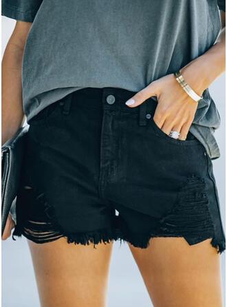 Übergröße Zerrissen Quaste Sexy Jahrgang Kurze Hose Denim Jeans
