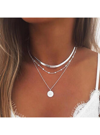 heißeste Geschichtet Legierung mit Münze Frauen Halsketten 3 PCS