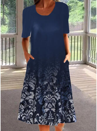 Print 1/2 Sleeves Shift Tunic Casual Midi Dresses