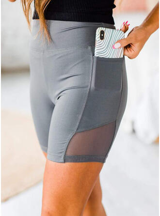 Einfarbig Taschen Yoga Dehnbar Kurze Hose