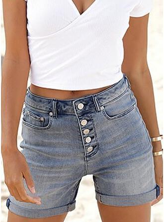Solid Denim Above Knee Casual Plus Size Pocket Button Pants Shorts Denim & Jeans
