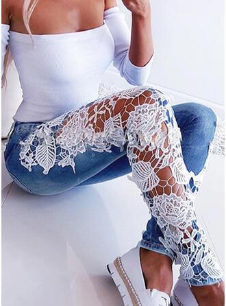 Cotton Denim Lace Long Casual Jacquard Pants Denim & Jeans