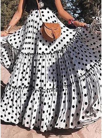 Polyester Tupfen Bodenlang Faltenröcke Ausgestellte Röcke A-Linie Röcke