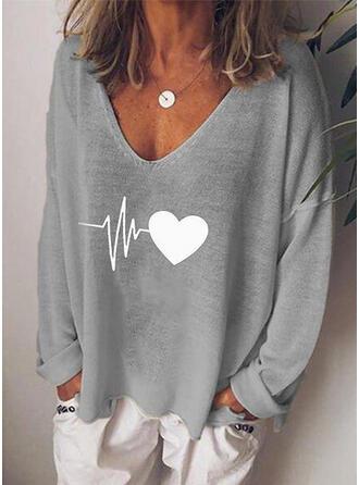Drucken Herz V-Ausschnitt Lange Ärmel Freizeit Stricken T-shirts