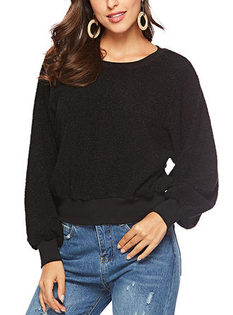 Elasthan Polyester Einfarbig Pullover