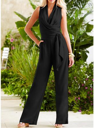 Einfarbig V-Ausschnitt Ärmellos Lässige Kleidung Elegant Overall