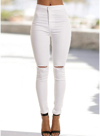 Shirred Zerrissen Lange Elegant Sexy Einfach Denim Jeans