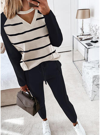 Striped Casual Plus Size Blouse & Two-Piece Outfits Set