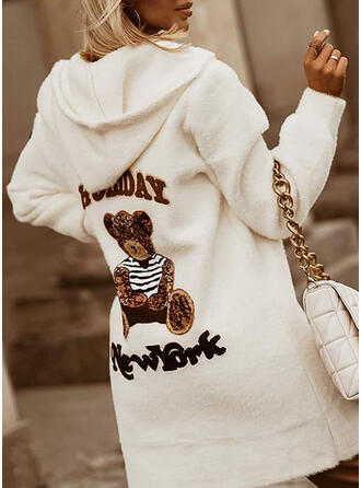 Print Letter Animal Hooded Casual Cardigan
