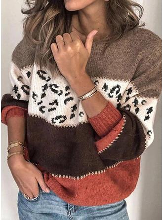 Drucken Geblockte Farben Leopard Rundhalsausschnitt Freizeit Pullover