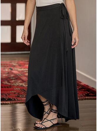 Baumwollmischungen Einfarbig Asymmetrisch A-Linie Röcke