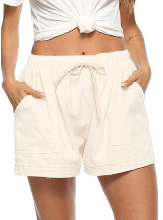 Taschen Shirred Übergröße Über dem Knie Lässige Kleidung Sportlich Kurze Hose