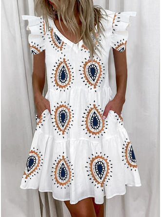 Print Short Sleeves Small Flying Sleeve Shift Above Knee Casual Tunic Dresses