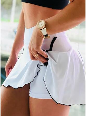Einfarbig Yoga Dehnbar Kurze Hose