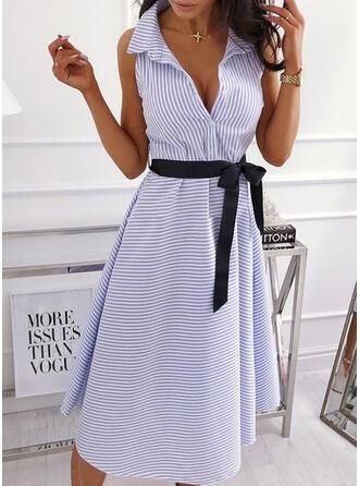 Gestreift Ärmellos A-Linien Freizeit/Elegant Midi Kleider