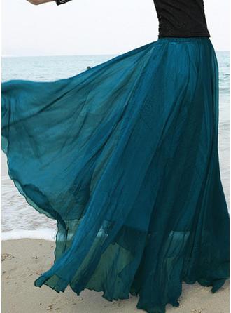 Chiffon Einfarbig Bodenlang A-Linie Röcke