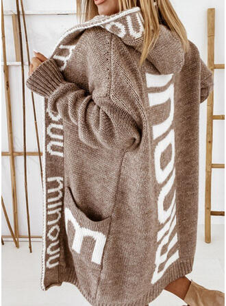 Print Letter Hooded Casual Cardigan
