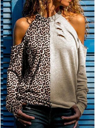 Leopard Kalte Schulter Lange Ärmel Freizeit Stricken Blusen
