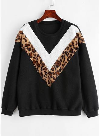 Polyester Tierdruck gestreift Pullover