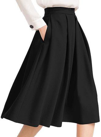 Polyester Einfarbig Knielänge Ausgestellte Röcke A-Linie Röcke