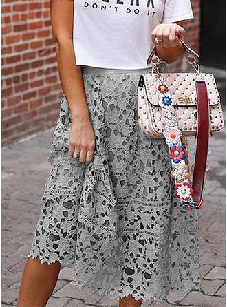 Polyester Einfarbig Lace Knielänge A-Linie Röcke
