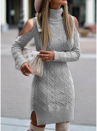 Einfarbig Zopfmuster Rollkragen Kalte Schulter Freizeit Pulloverkleid