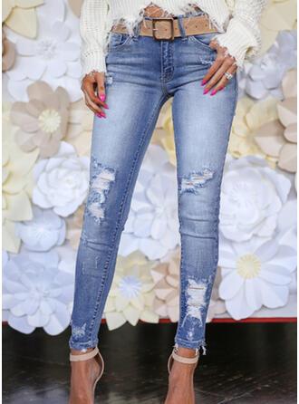 Geometrisch Taschen Shirred Übergröße Lange Elegant Sexy Dünn Jacquard Hosen Denim Jeans