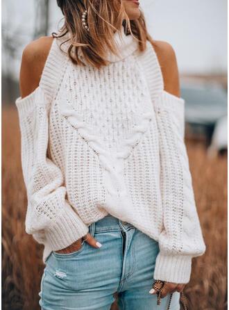 Einfarbig Zopfmuster Rollkragen Kalte Schulter Freizeit Pullover