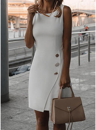 Einfarbig Ärmellos Etui Knielang Kleine Schwarze/Elegant Kleider