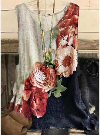 Farbblock Blumen Druck V-Ausschnitt Ärmellos Tank Tops