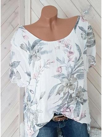 Blumen Rundhalsausschnitt Kurze Ärmel Freizeit T-shirts