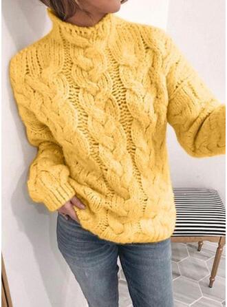Einfarbig Zopfmuster Stehkragen Freizeit Pullover