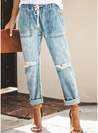 Einfarbig Lange Baumwollstoff Hosen