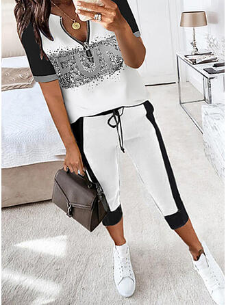 Letter Print Color Block Casual Plus Size Blouse & Two-Piece Outfits Set