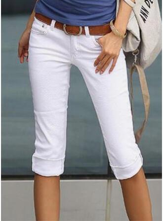 Solid Capris Elegant Shirred Pants