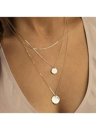 Legierung mit Münze Halsketten 3 PCS