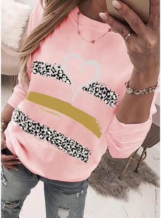 Print Leopard Heart Round Neck Long Sleeves Sweatshirt