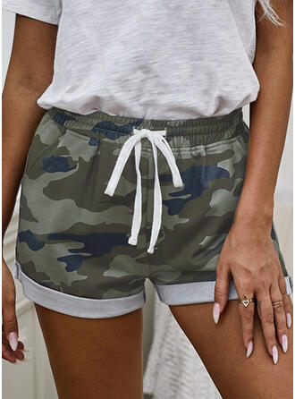 Tarnen Kordelzug Lässige Kleidung Druck Kurze Hose