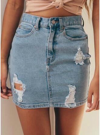 Polyester Plain Mini Pencil Skirts