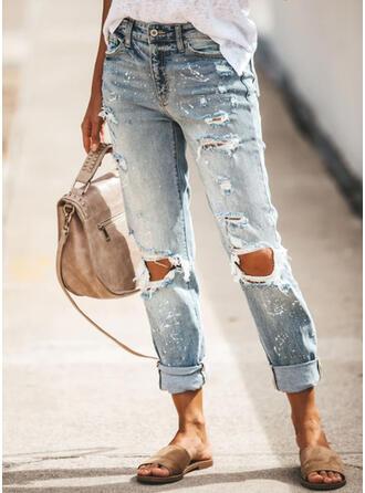 Zerrissen Lässige Kleidung Einfach Denim Jeans