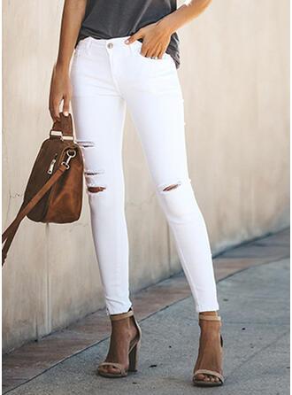 Taschen Zerrissen Lange Sexy Dünn Denim Jeans