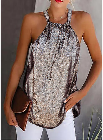 Sequins Solid Strap Sleeveless Tank Tops