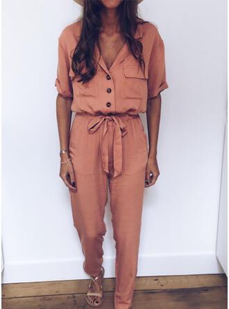 Einfarbig Hemdkragen Kurze Ärmel Lässige Kleidung Overall