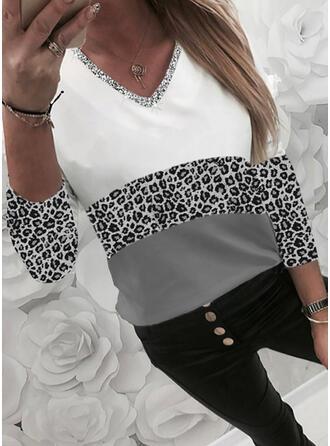 Farbblock Leopard Pailletten V-Ausschnitt Lange Ärmel T-Shirts