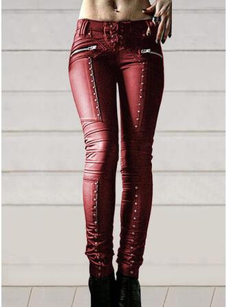 Einfarbig Geometrisch Sexy Leder Jahrgang Hosen Gamaschen