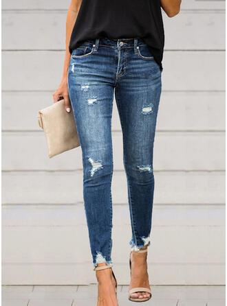 Cotton Long Elegant Sexy Shirred Ripped Pants Denim & Jeans
