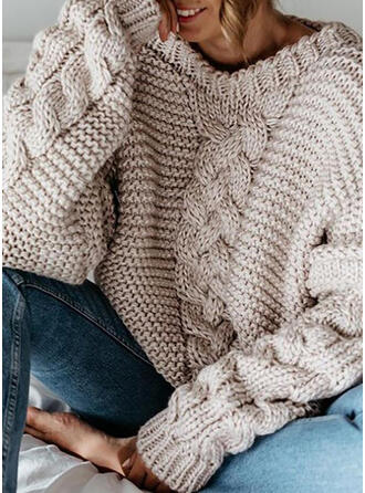 Einfarbig Zopfmuster Grobstrick Rundhalsausschnitt Freizeit Pullover