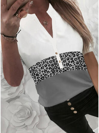 Color Block Leopard V-Neck Short Sleeves Button Up Casual Blouses
