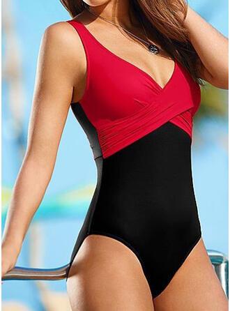 Spleiß Farbe Träger V-Ausschnitt Sexy Klassisch Übergröße Badeanzüge Bademode
