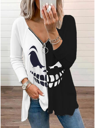 Halloween Print Color Block V-Neck Long Sleeves Casual Blouses